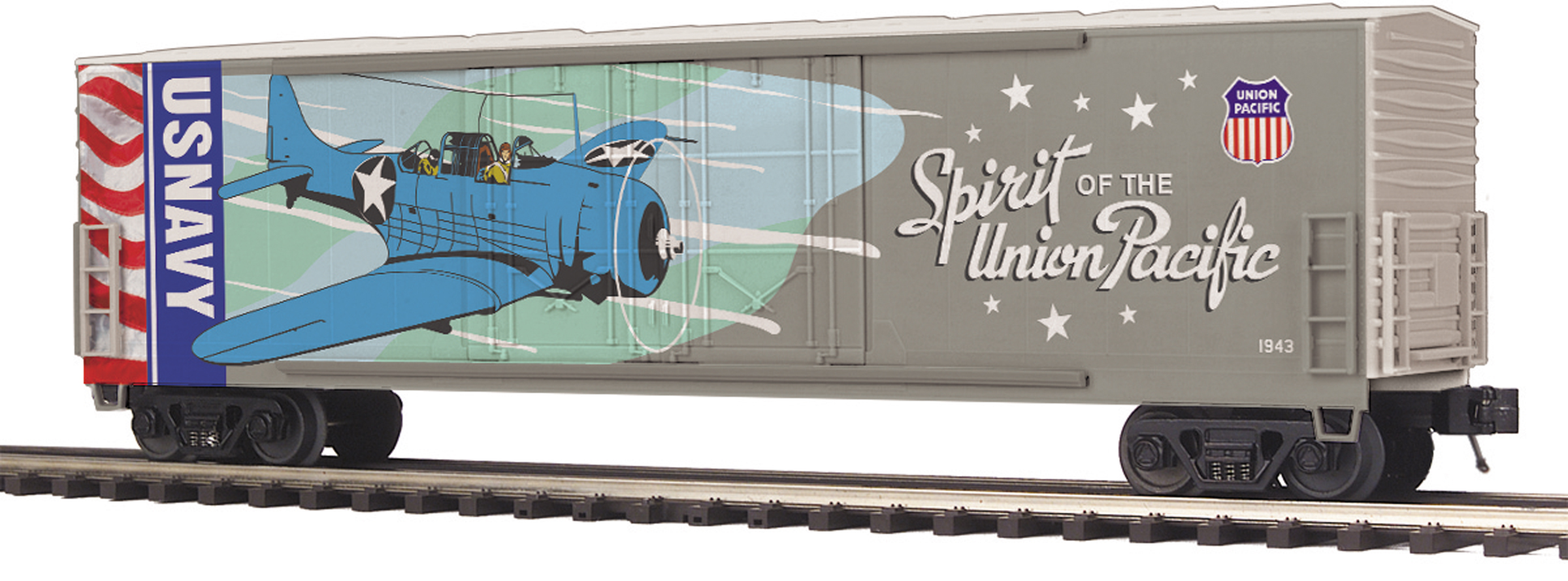 MTH 2093754 O 50' Double-Plug-Door Boxcar 3-Rail RTR Premier Union Pacific Navy Commemorative 507-2093754