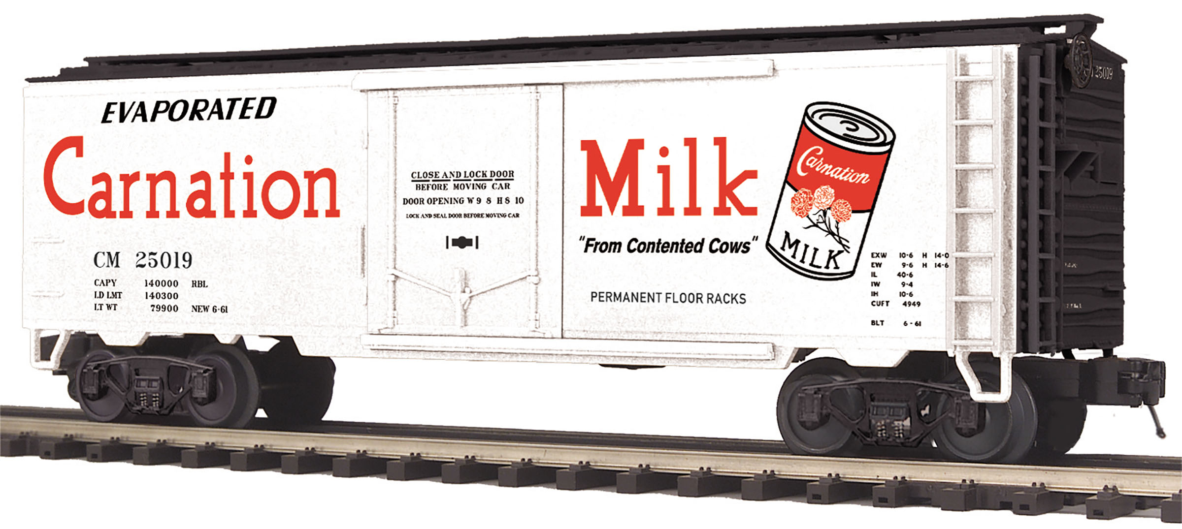 MTH2094282 MTH Electric Trains O Reefer, Carnation Milk #25019