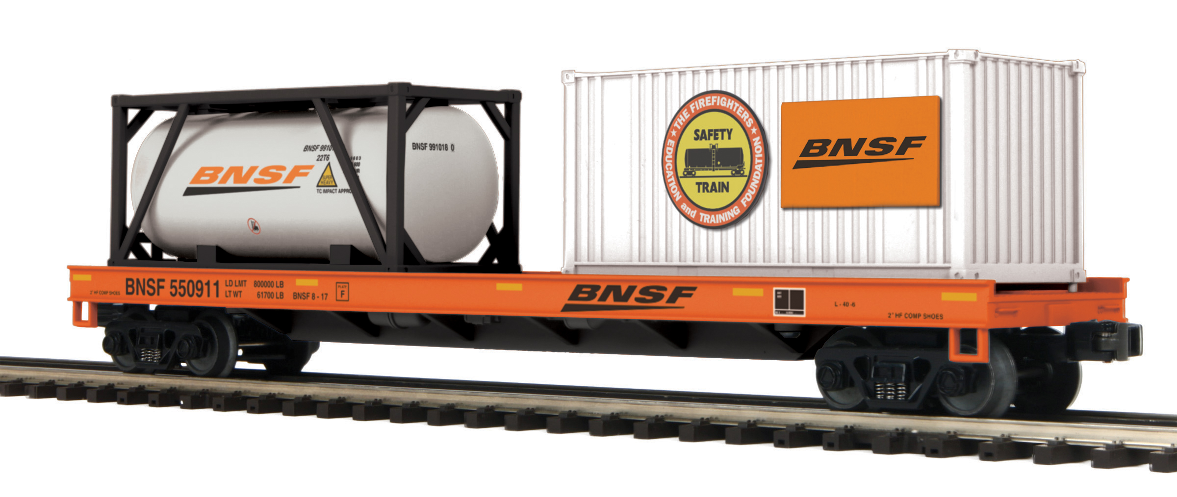 MTH 20-95294 O Flatcar Tank Container 20' Container Load 3 Rail Premie BNSF 550911