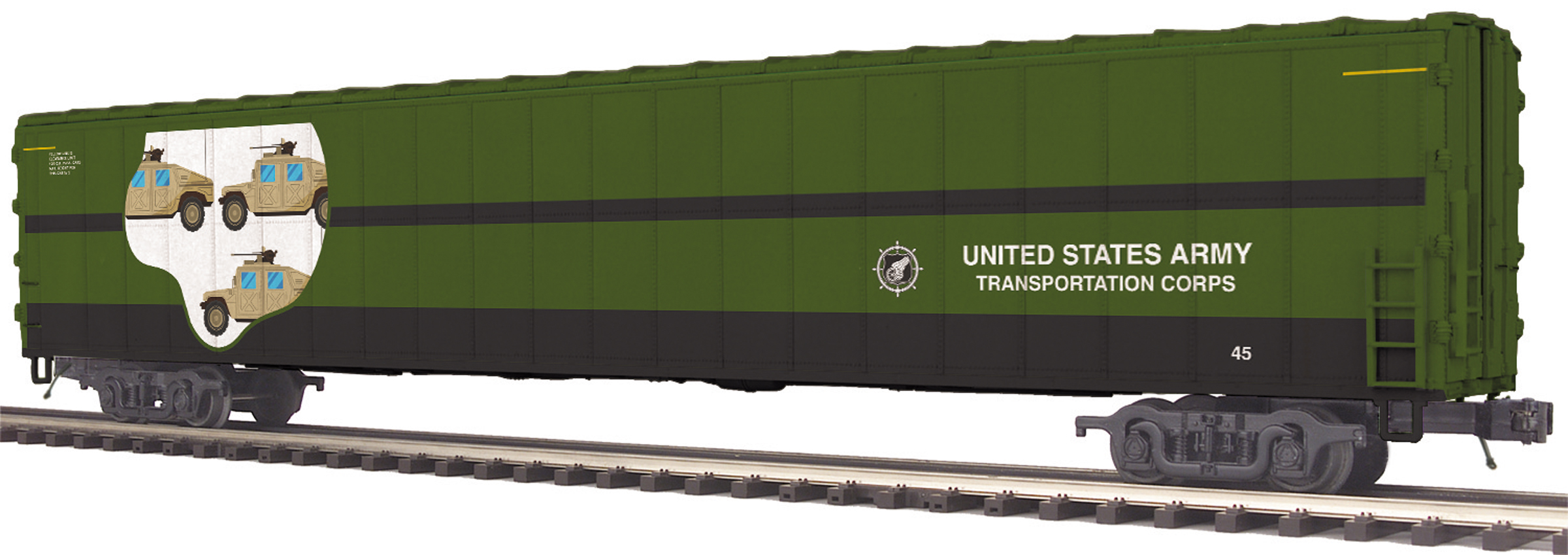 MTH 2095308 O 75' AutoTrain Auto Carrier US Army #45