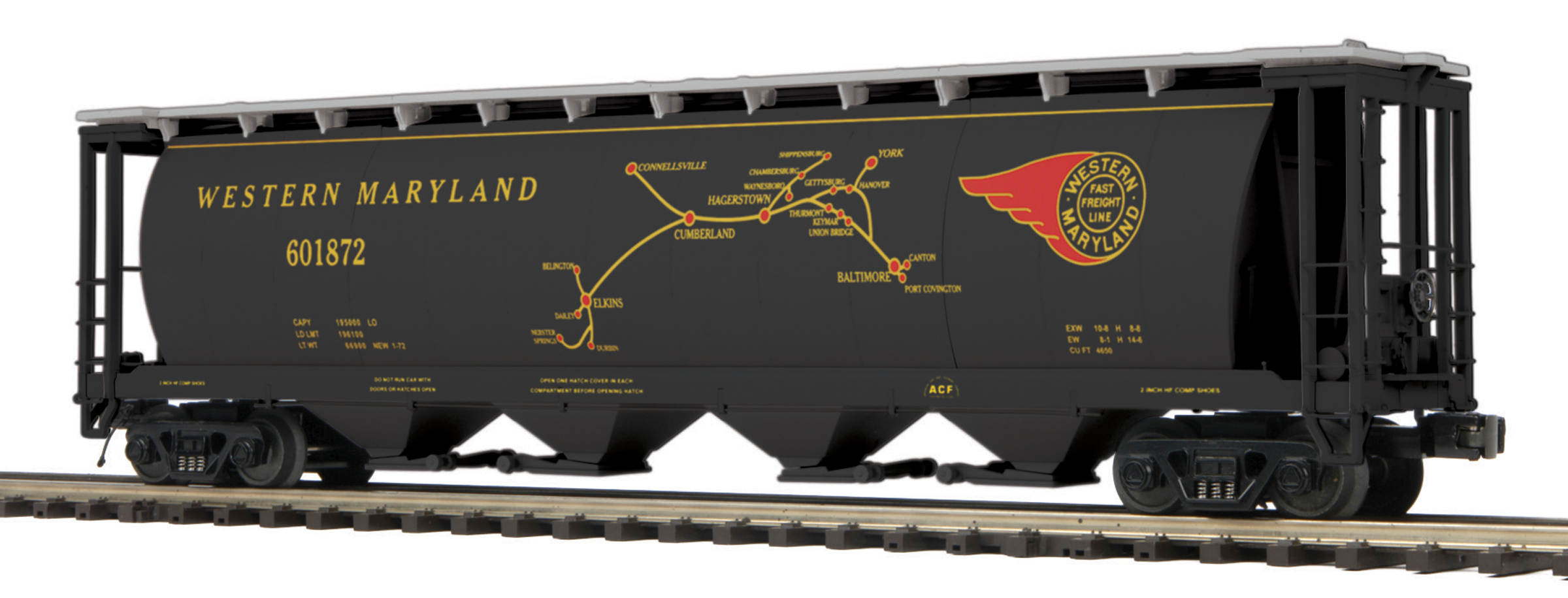 MTH 20-90451 Western Maryland 2-Bay Fish Belly Hopper w//Coal Load O Gauge
