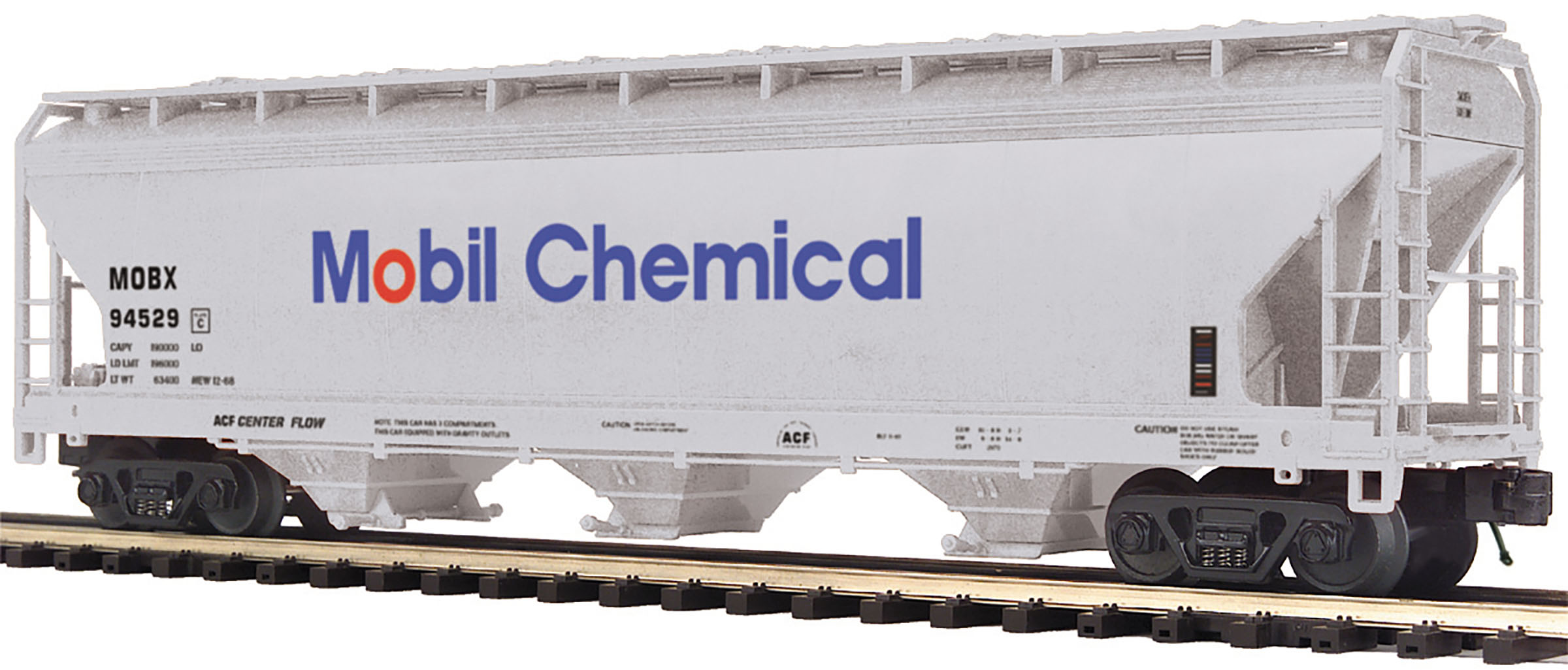 MTH2097897 MTH Electric Trains O 3-Bay Centerflow Hopper, Mobil Chemical #94529