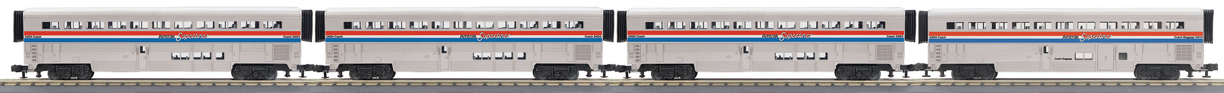 MTH306535 MTH Electric Trains O-31 SuperLiner Set, Amtrak/Phase III #31019 (4)