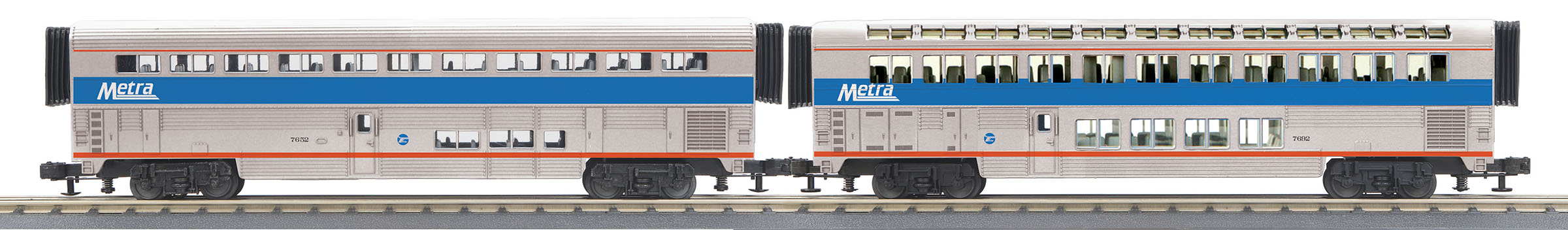 MTH306545 MTH Electric Trains O-31 SuperLiner Coach/Lounge Set, METRA #7658 (2)