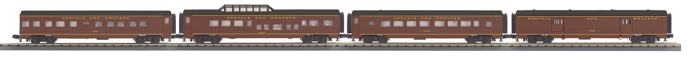 MTH 3068114 O 60' Streamlined 4-Car Passenger Set 3-Rail Ready to Run RailKing Norfolk & Western 1284 507-3068114