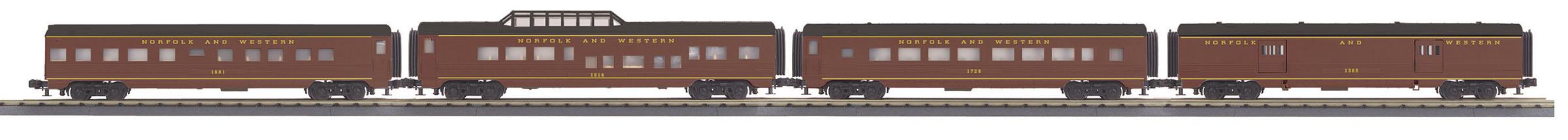 MTH 30-68114 60' Streamlined 4 Car Passenger Set 3 Rail RailKing Norfolk & Western 1284
