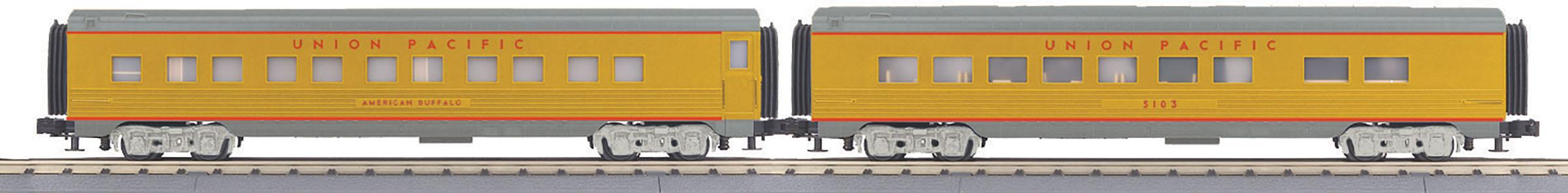 MTH 30-68141 60' Streamlined Sleeper Diner Set 3 Rail RailKing Union Pacific