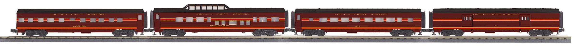 MTH 30-68144 4 Car 60' Streamlined Passenger Set 3 Rail RailKing Chicago Great Western 44