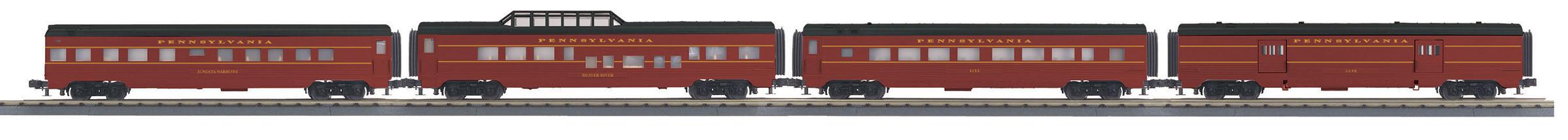 MTH 30-68148 4 Car 60' Streamlined Passenger Set 3 Rail RailKing Pennsylvania Railroad