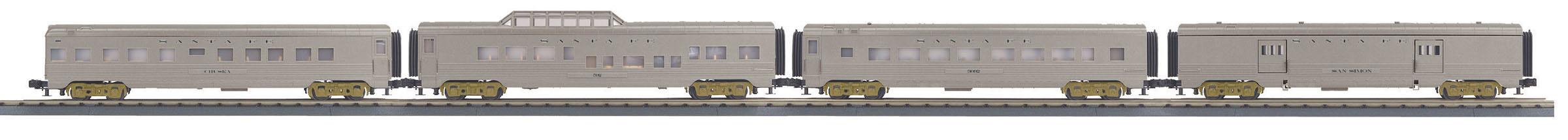 MTH 30-68152 4 Car 60' Streamlined Passenger Set 3 Rail RailKing Santa Fe