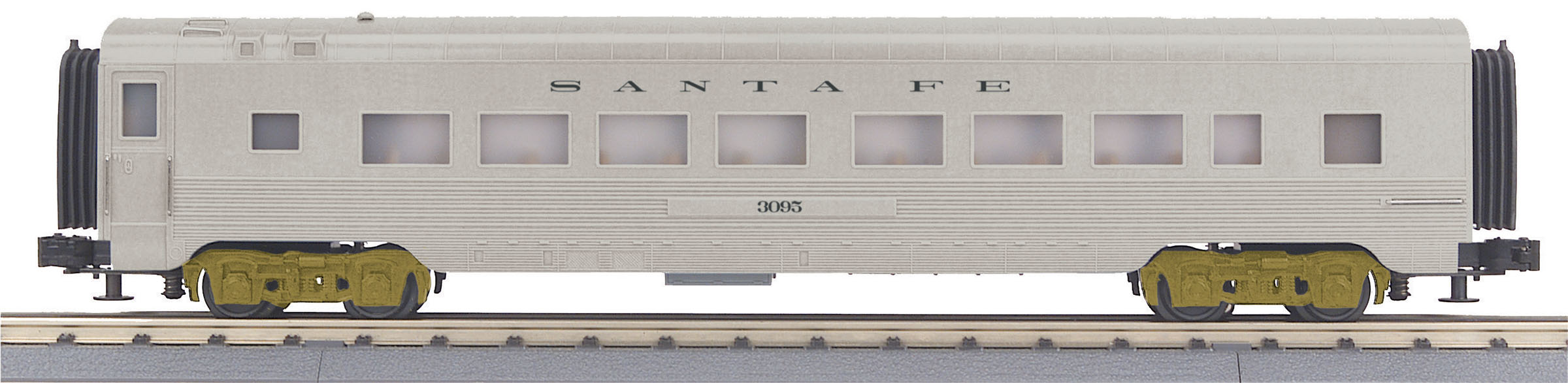 MTH 30-68154 60' Streamlined Coach 3 Rail RailKing Santa Fe