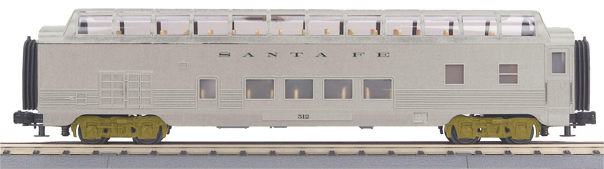 MTH 30-68155 60' Full Length Vista Dome 3 Rail RailKing Santa Fe