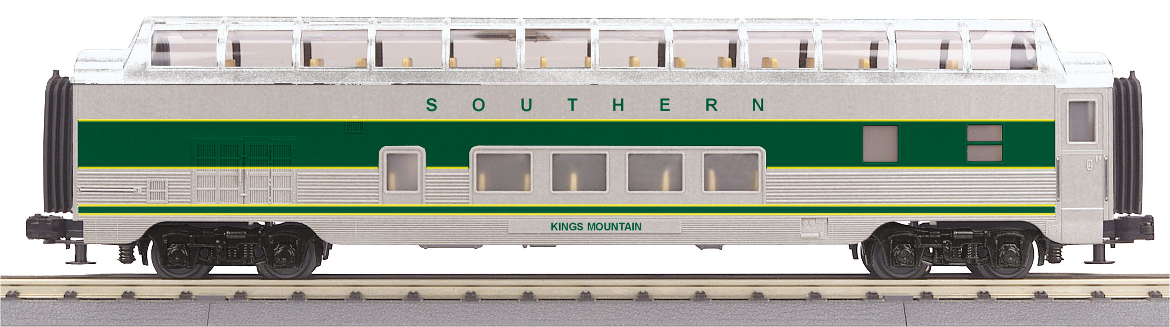 MTH 30-68163 60' Full Length Vista Dome 3 Rail RailKing Southern Railway