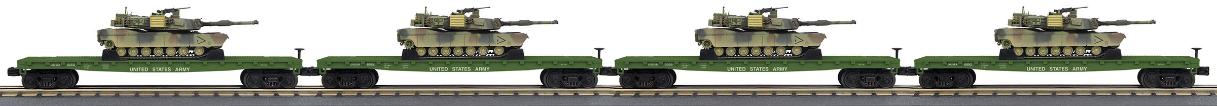 MTH307098 MTH Electric Trains O Flat w/M1A Tnk US 8052 4/ 507-307098