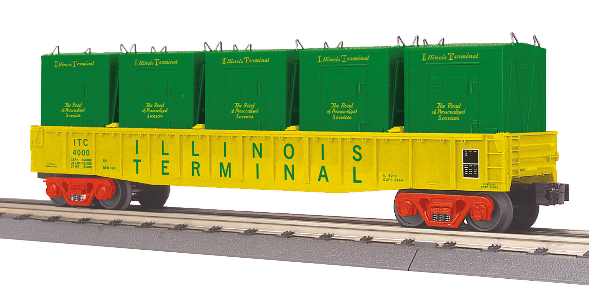 MTH 3072196 O-27 Gondola w/LCL Containers, IT #400 MTH3072196