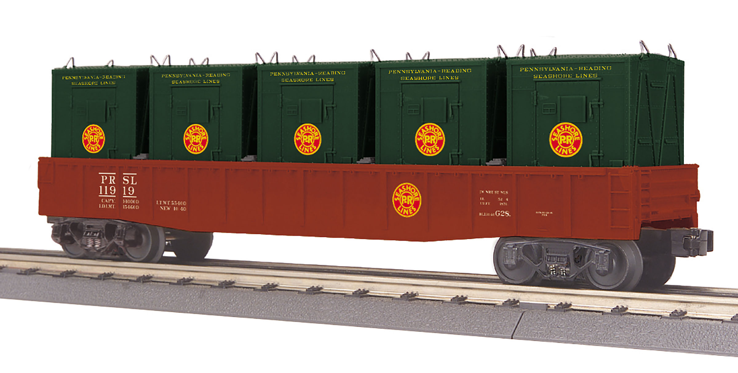 MTH 3072198 O Gondola w/ LCL Containers 3-Rail RailKing Pennsylvania Reading Seashore Lines 11919 507-3072198