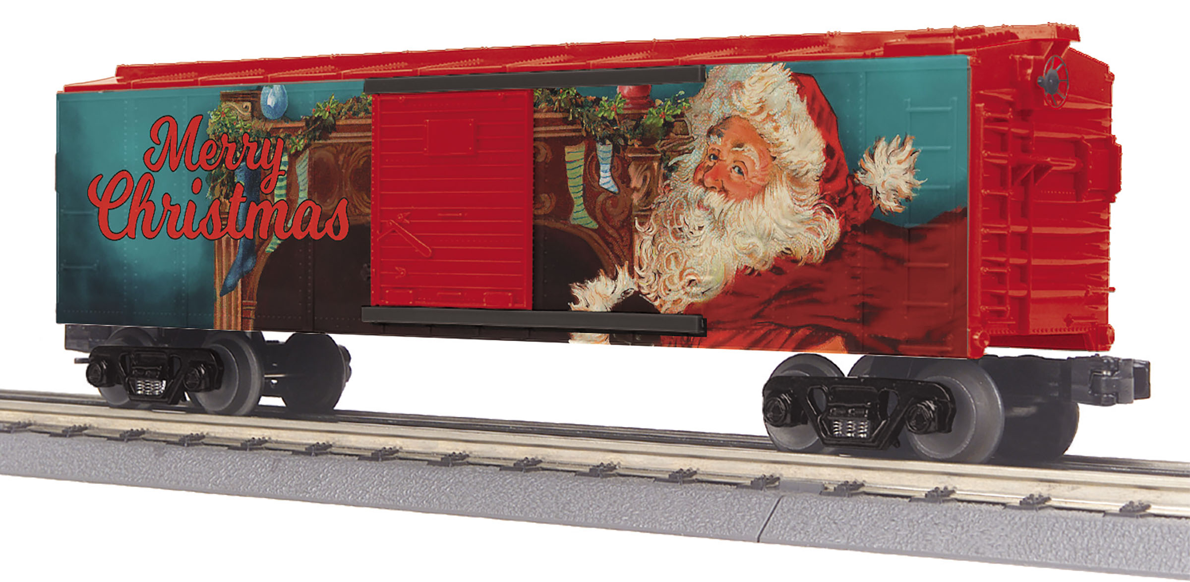 Image result for O Gauge RailKing Box Car - Christmas (Santa) MTH3074890