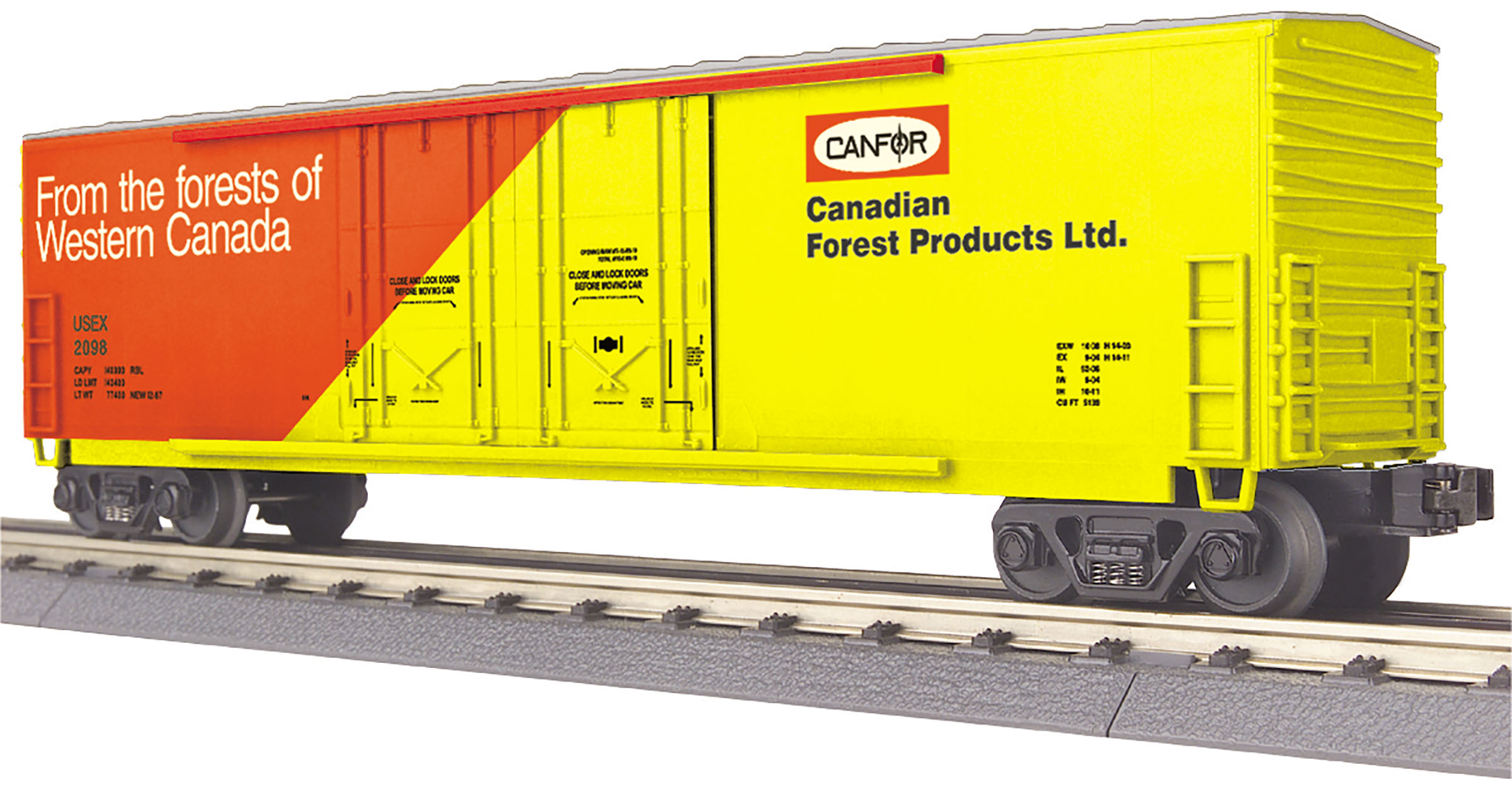 MTH 30-74987 50' Double Plug Door Boxcar 3 Rail RailKing Canfor 2098
