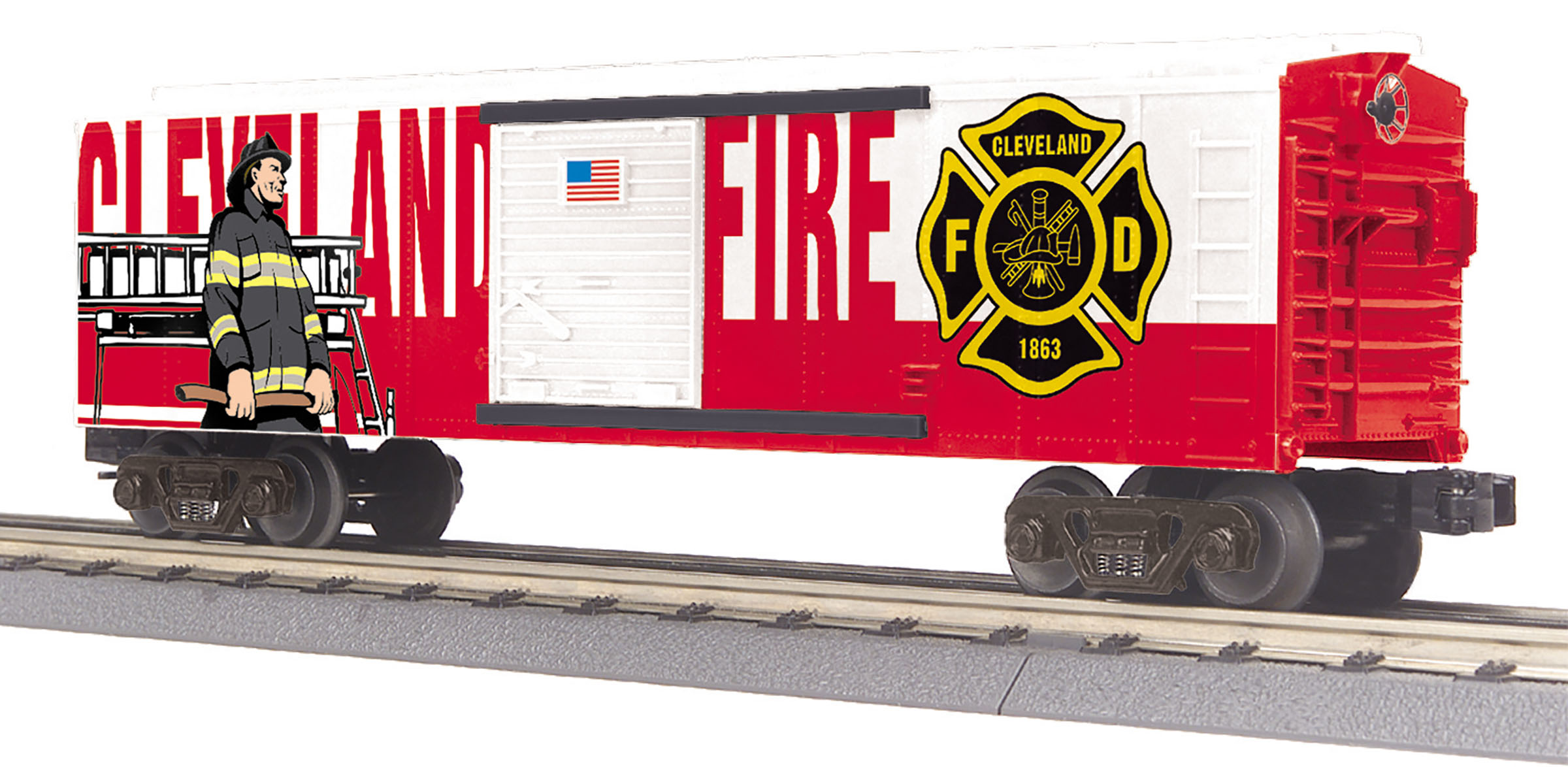 MTH 30-74992 Boxcar 3 Rail RailKing Cleveland Fire Dept.