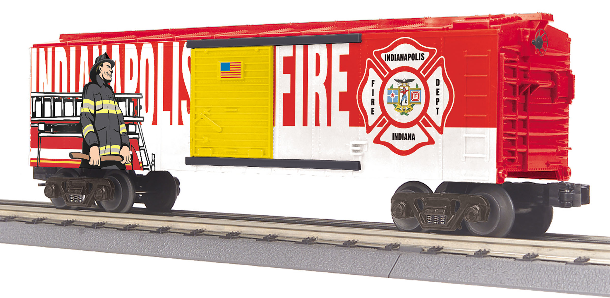MTH 30-74994 Boxcar 3 Rail RailKing Indianapolis Fire Dept.