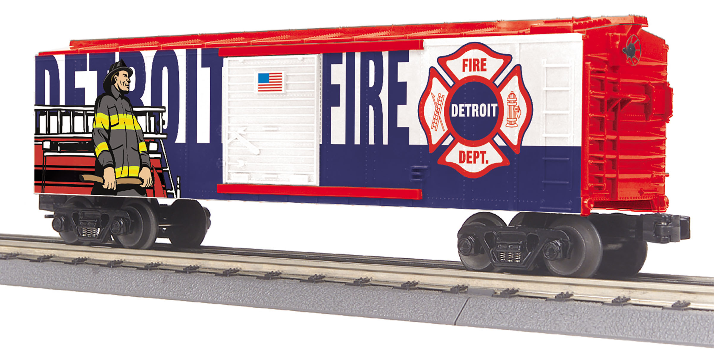 MTH 30-74995 Boxcar 3 Rail RailKing Detroit Fire Dept.