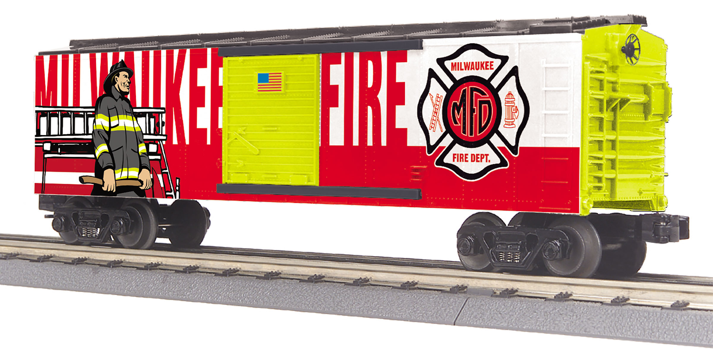 MTH 30-74996 Boxcar 3 Rail RailKing Milwaukee Fire Dept.