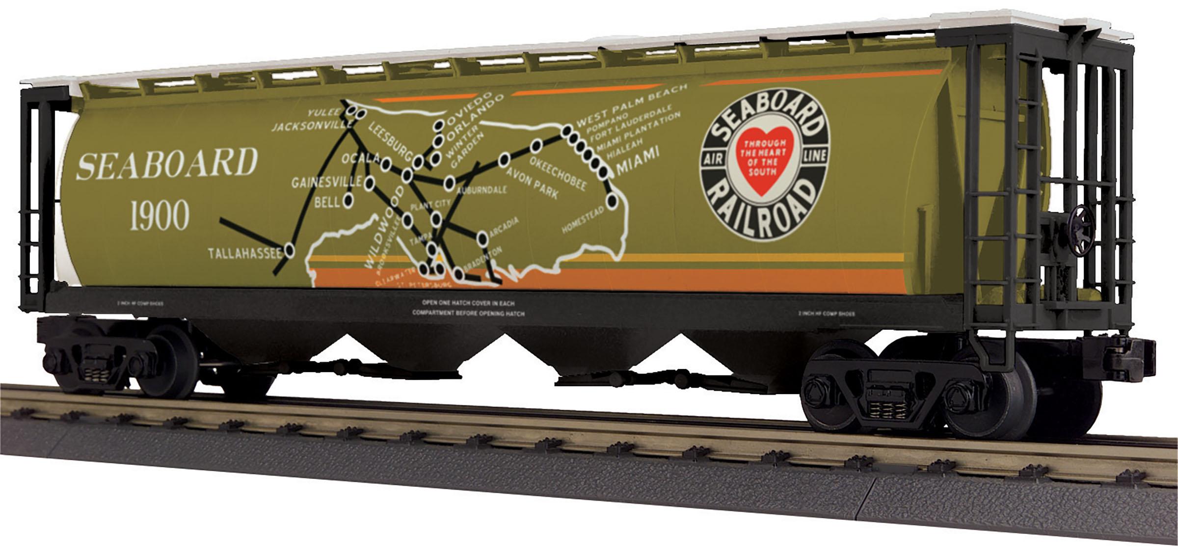 MTH 30-75647 4 Bay Cylindrical Hopper Car 3 Rail RailKing Seaboard Air Line 1900