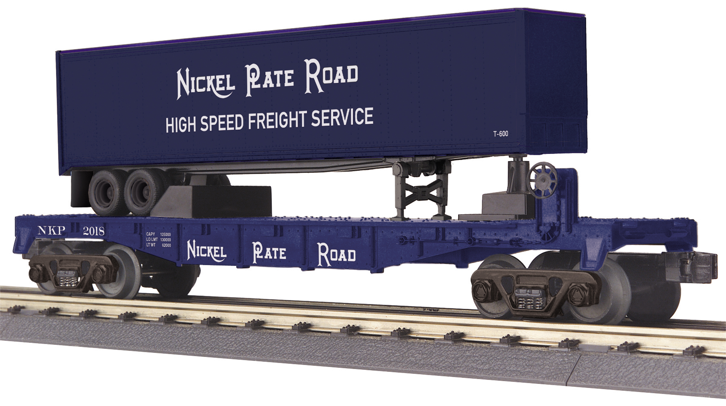 MTH3076728 MTH Electric Trains O-27 Flat w/40' Trailer, NKP #2018