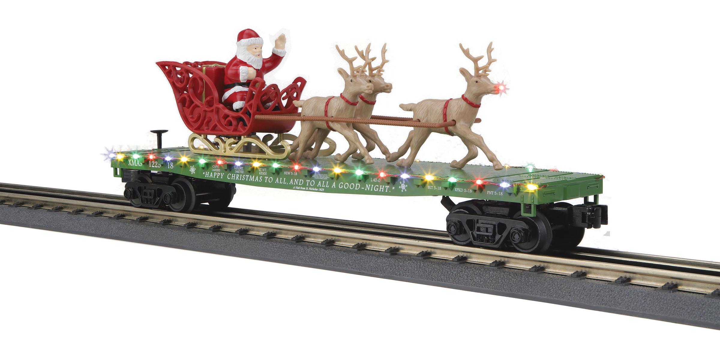 MTH 30-76741 Flatcar with LED Lights Santa and Reindeer 3 Rail RailKi Christmas