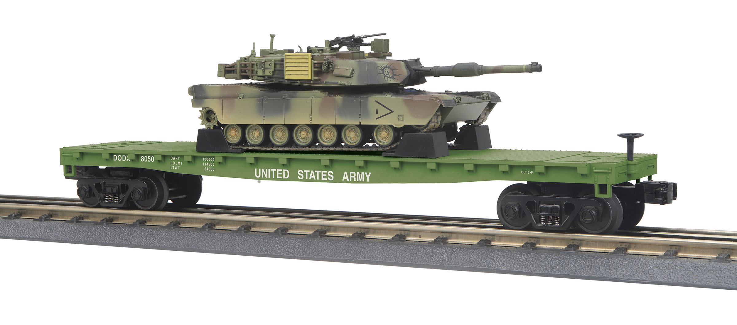MTH 30-76770 O Flatcar with M1A Abrams Tank Load 3-Rail RTR RailKing U.S. Army 8050 507-3076770