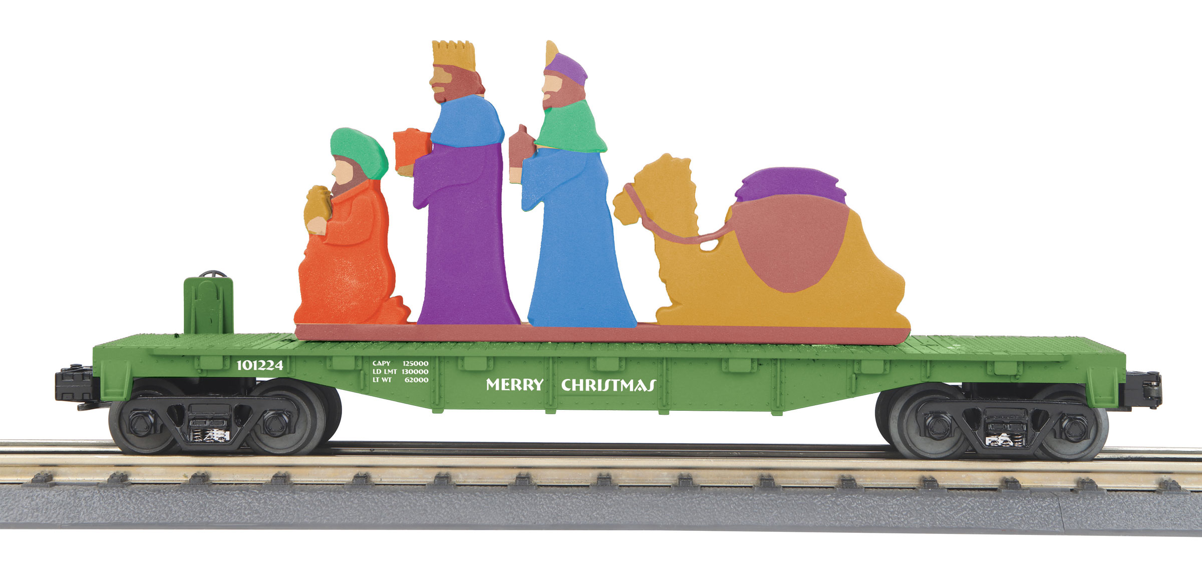 MTH 30-76788 O-27 Flat w/Lighted Scene Wise Men/Green