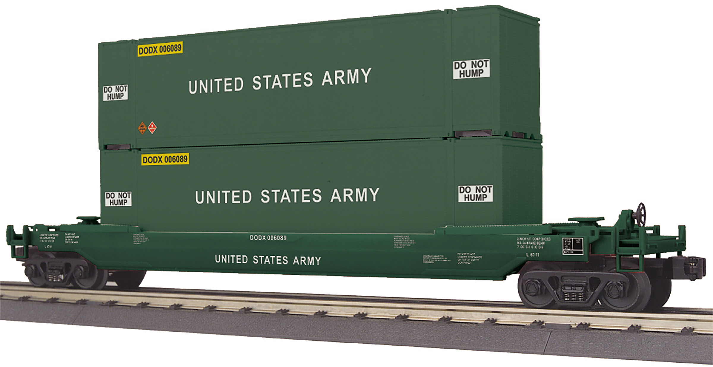 MTH 30-76797 Husky Stack Well Car 3 Rail RailKing U.S. Army 6089