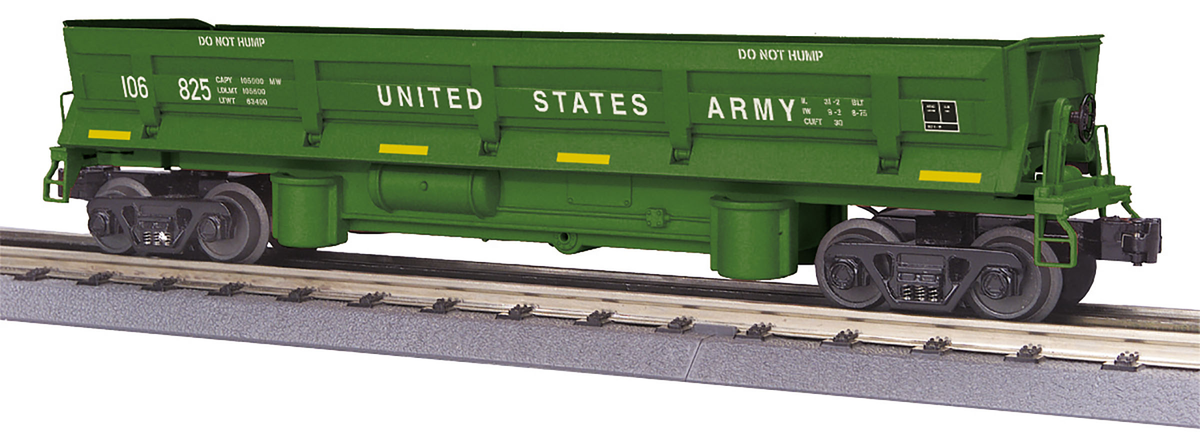 MTH 3079590 O-27 Dump Car w/Operating Bay US Army #106825