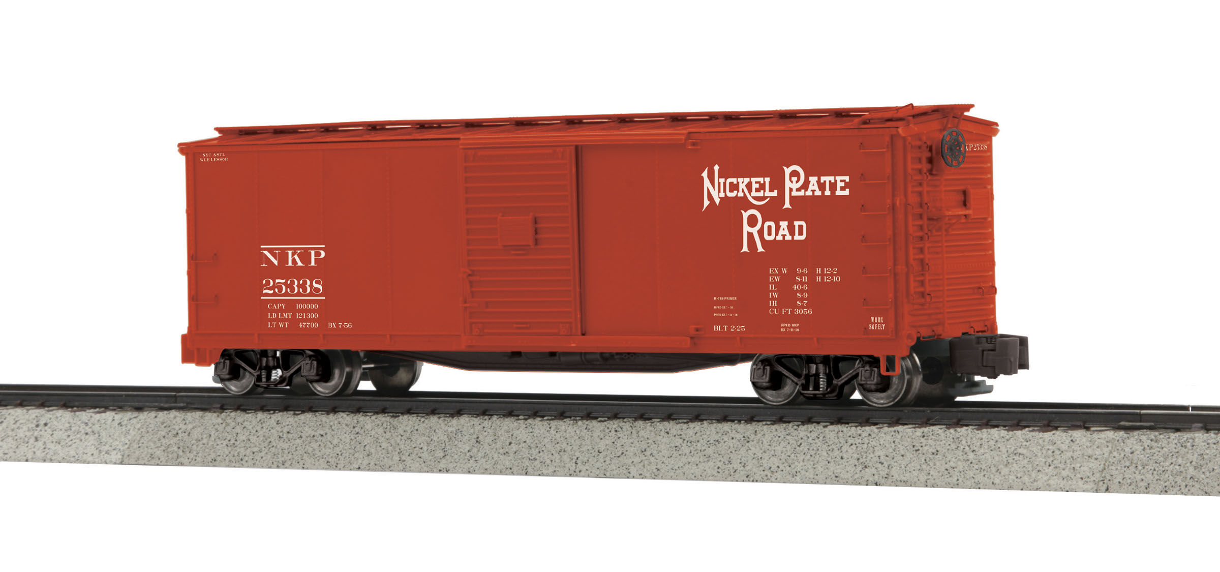 MTH 3574028 Rebuilt Steel Box Car Hi-Rail Wheels NKP #25338