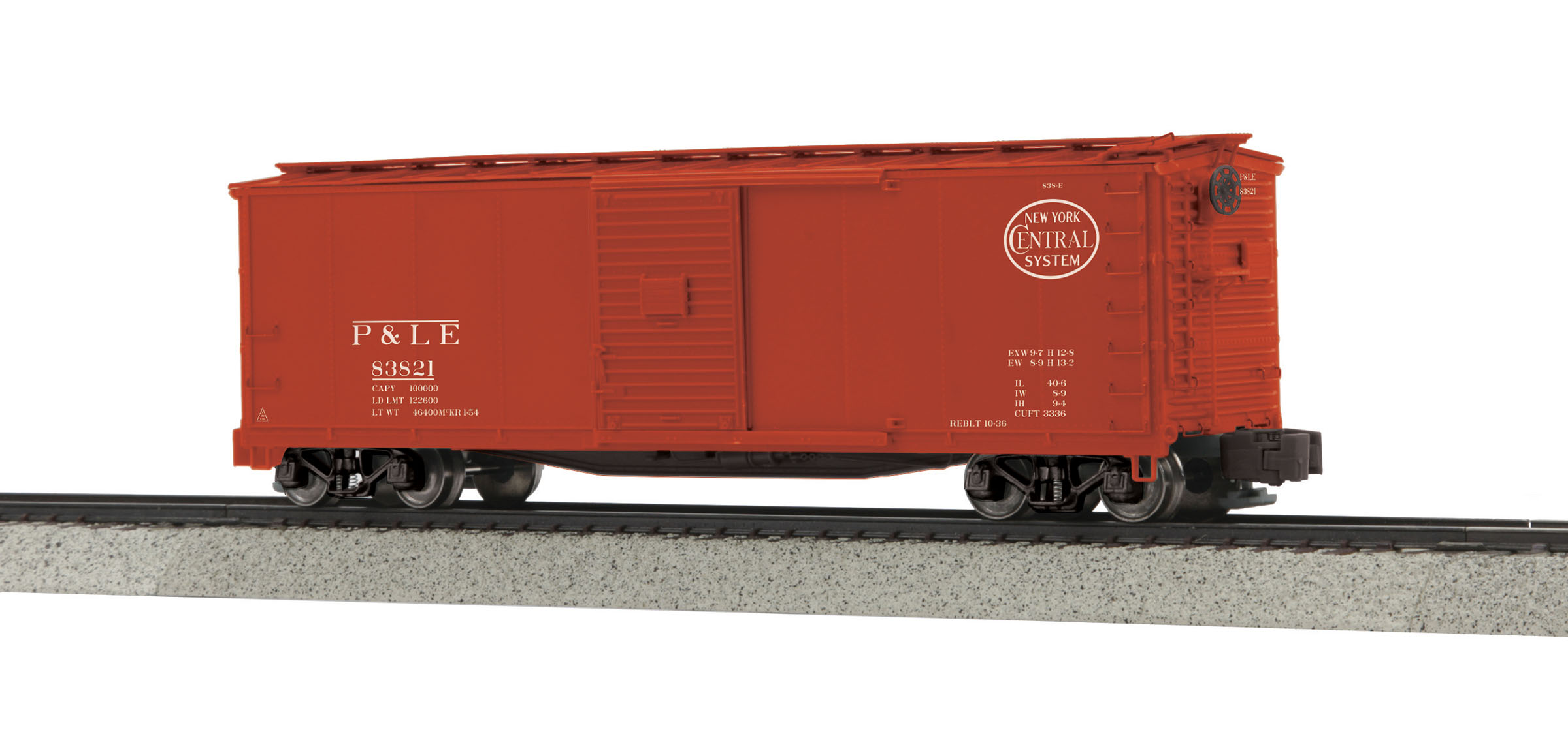 MTH 3574031 Rebuilt Steel Box Car Hi-Rail Wheels P&LE #83821