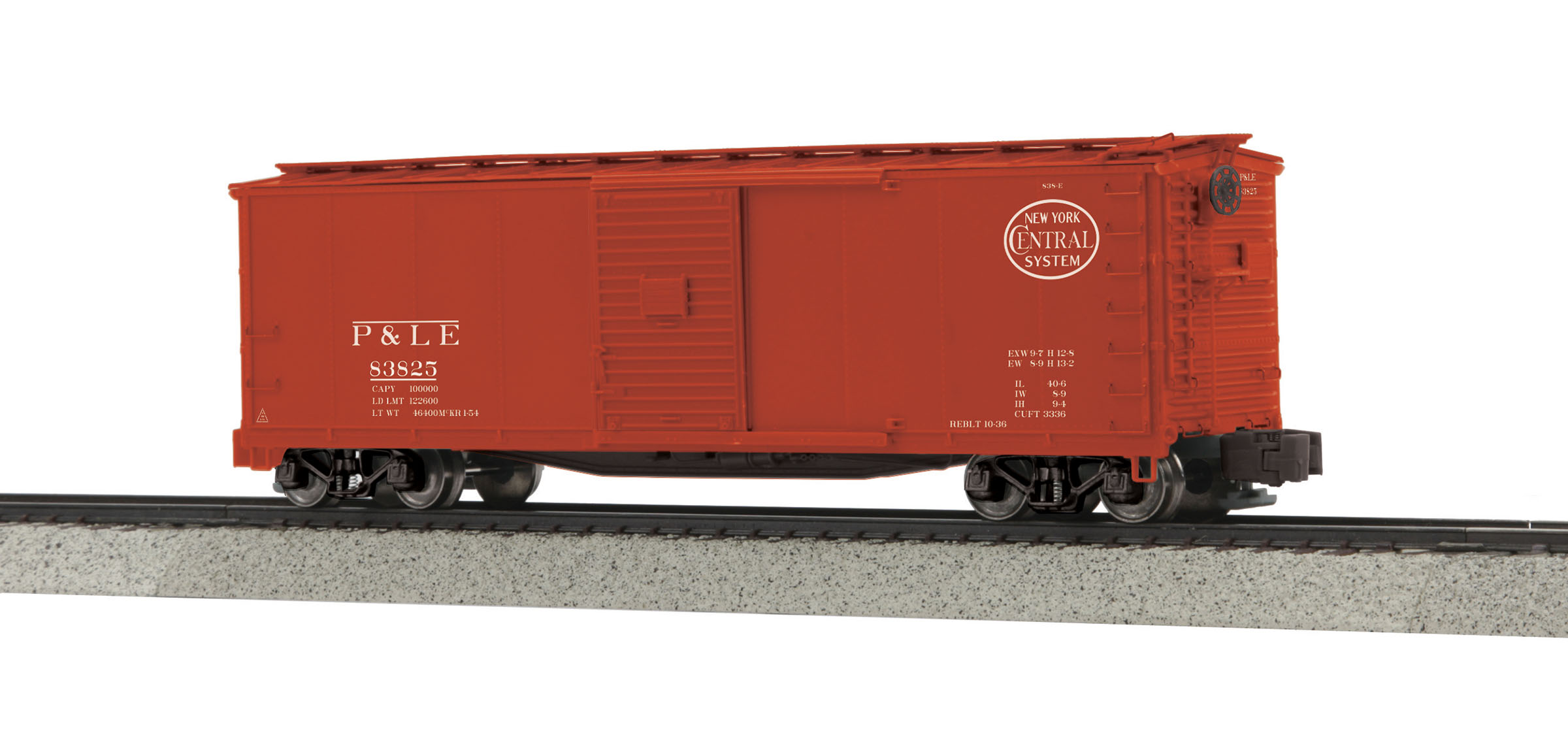 MTH 3574032 Rebuilt Steel Box Car Hi-Rail Wheels P&LE #83825