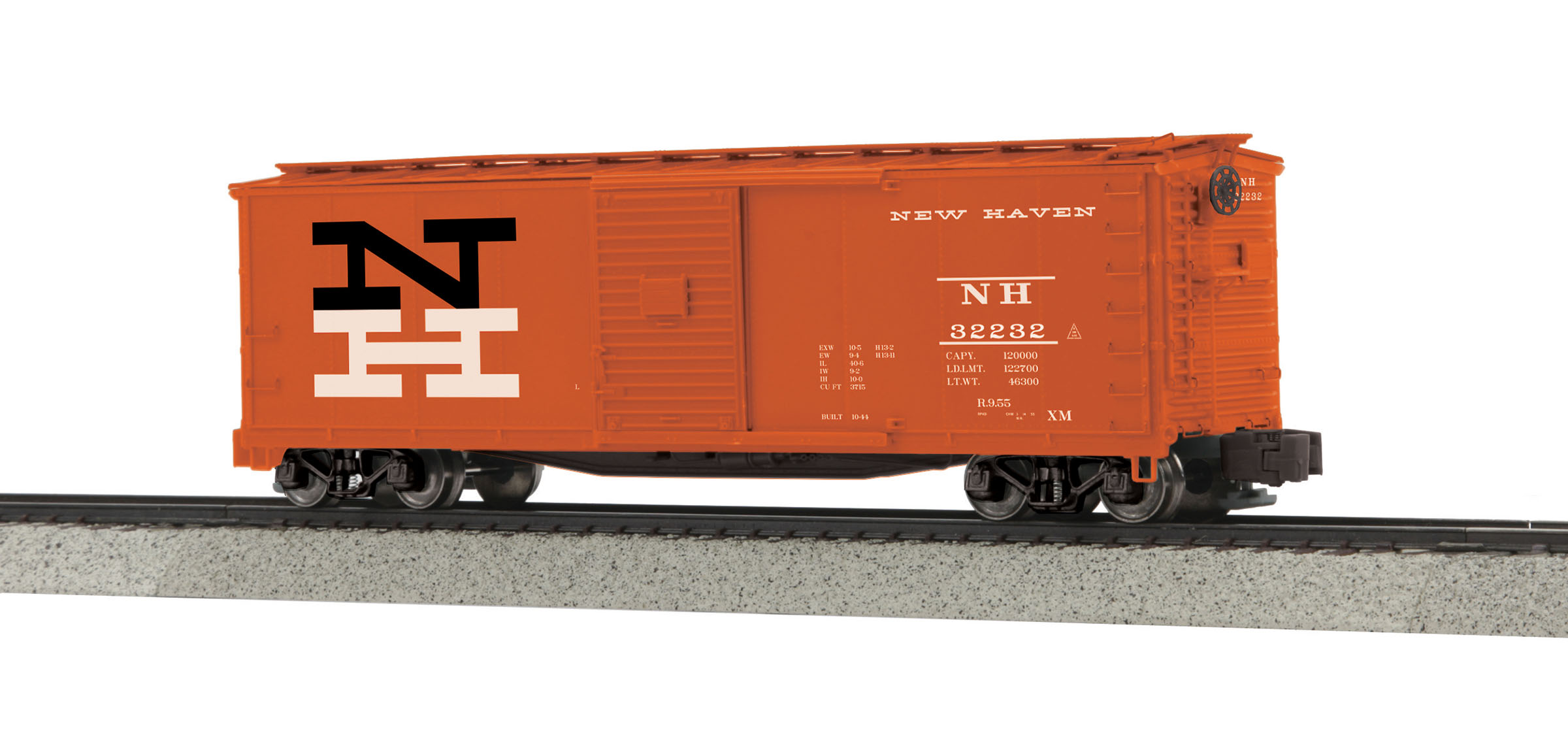 MTH 3574036 Rebuilt Steel Box Car Hi-Rail Wheels NH #32232