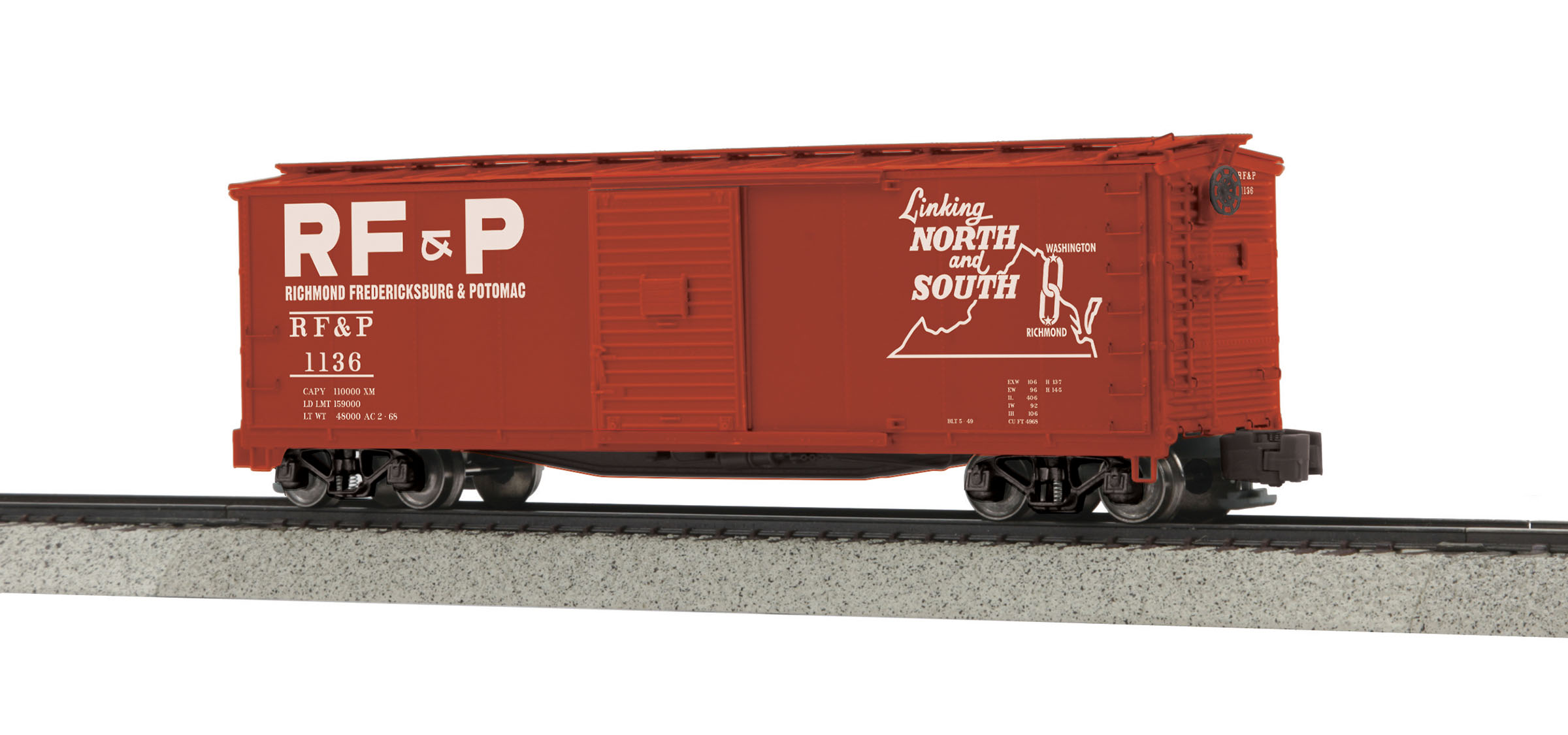MTH 3574037 Rebuilt Steel Box Car Hi-Rail Wheels RF&P #1136