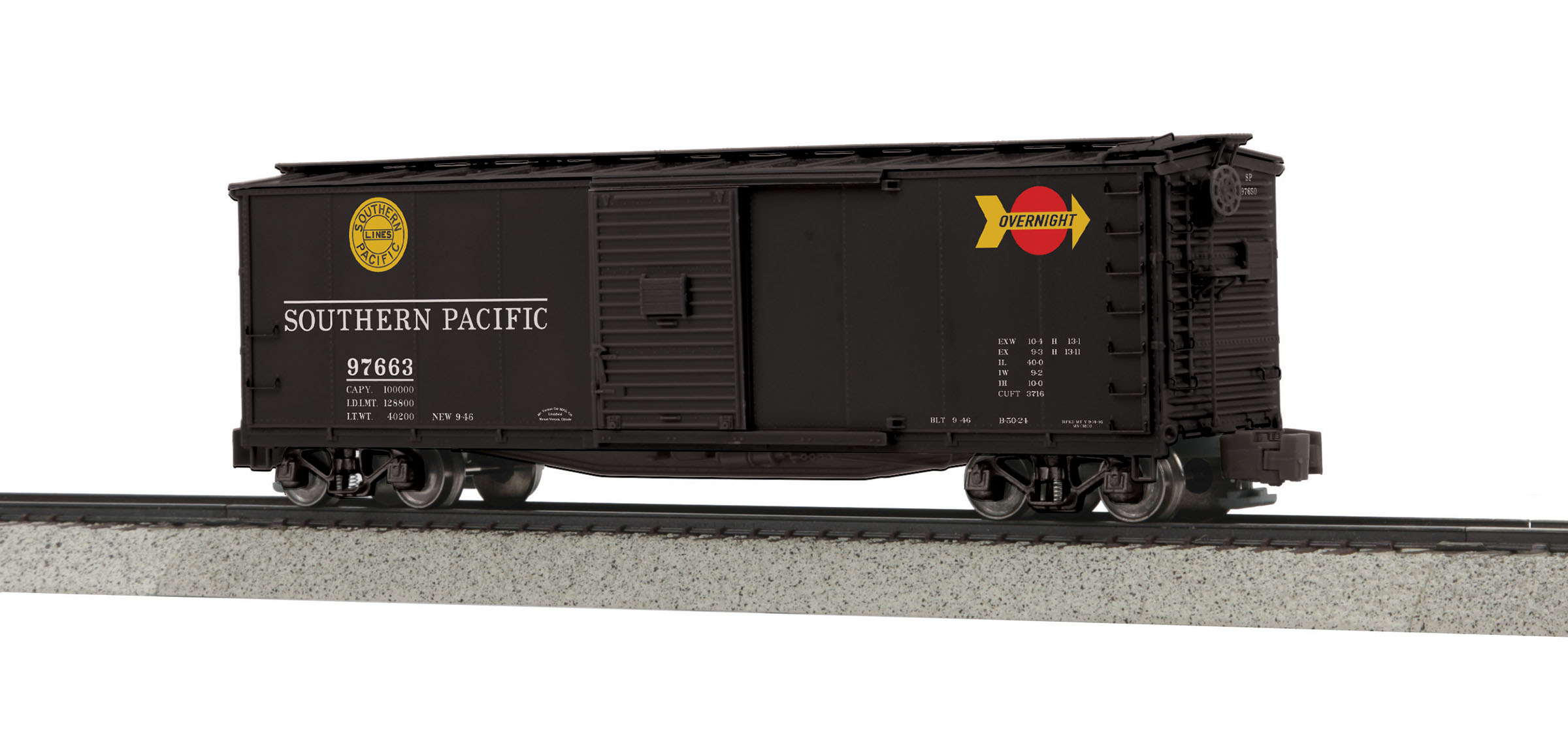 MTH 3574042 Rebuilt Steel Box Car Hi-Rail Wheels SP #97663