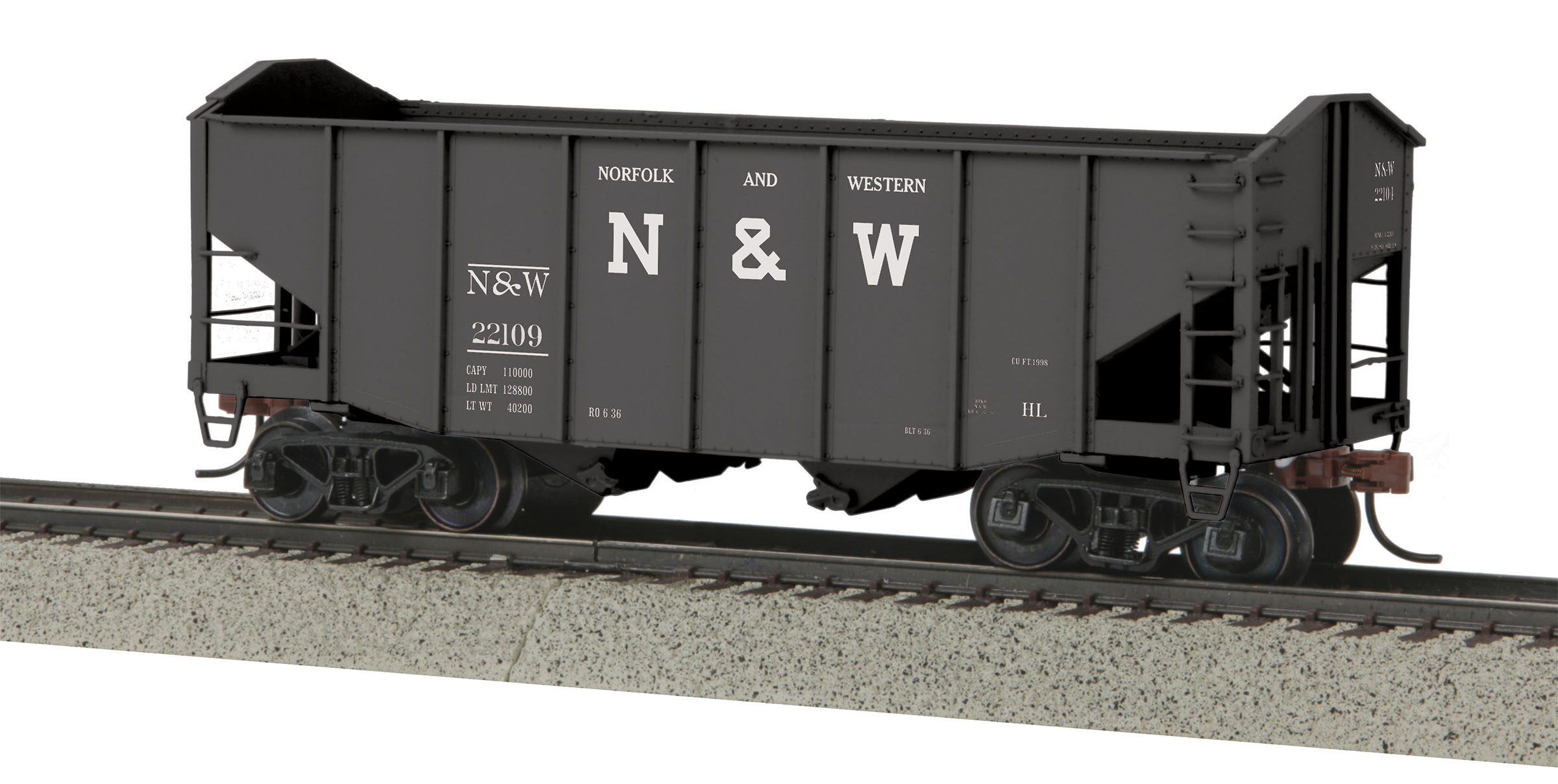 MTH 3575055 2Bay Fish Belly Hopper Hi-Rail Wheel N&W #22109