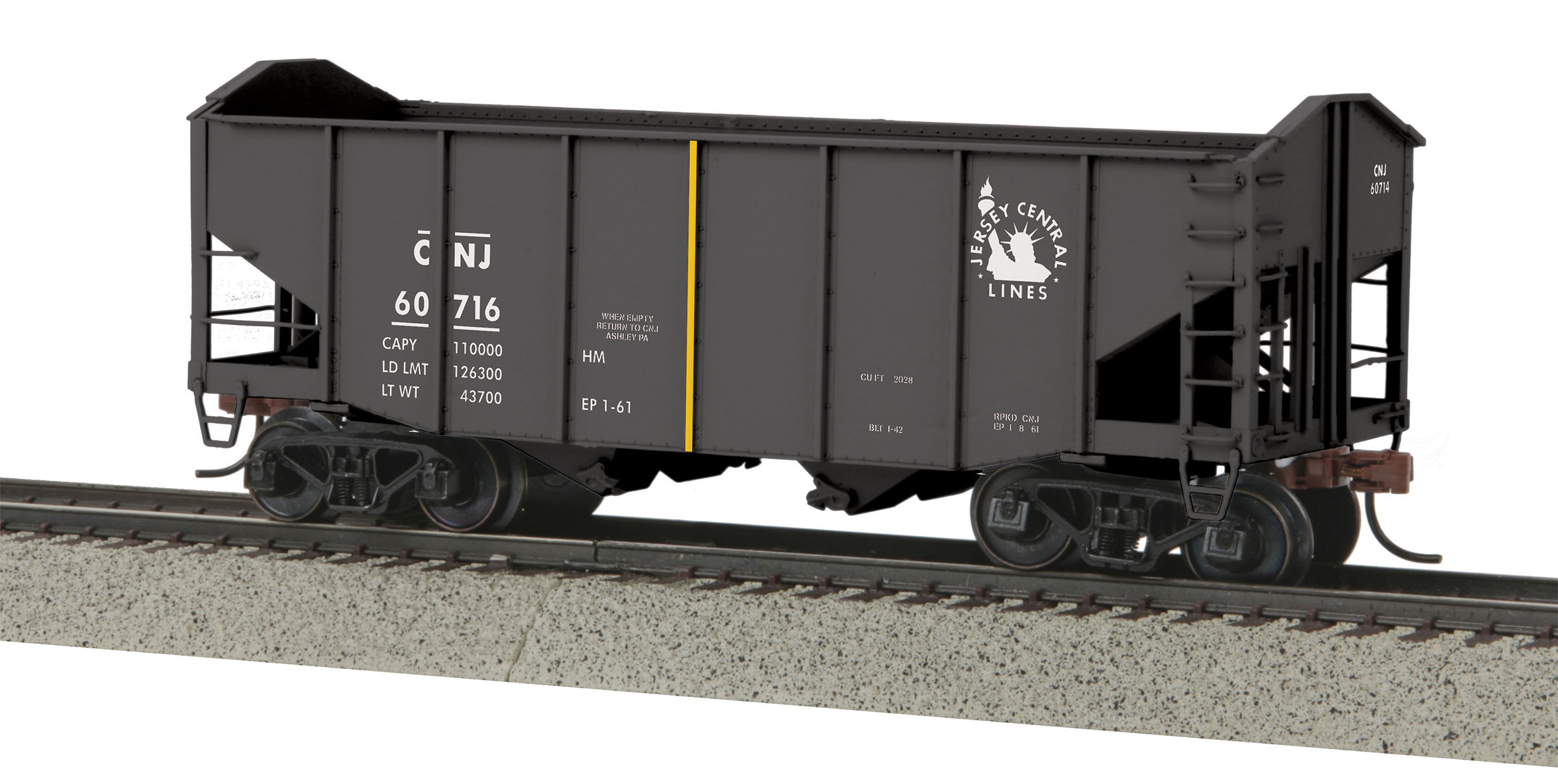 MTH 3575059 2Bay Fish Belly Hopper Hi-Rail Wheel CNJ #60716