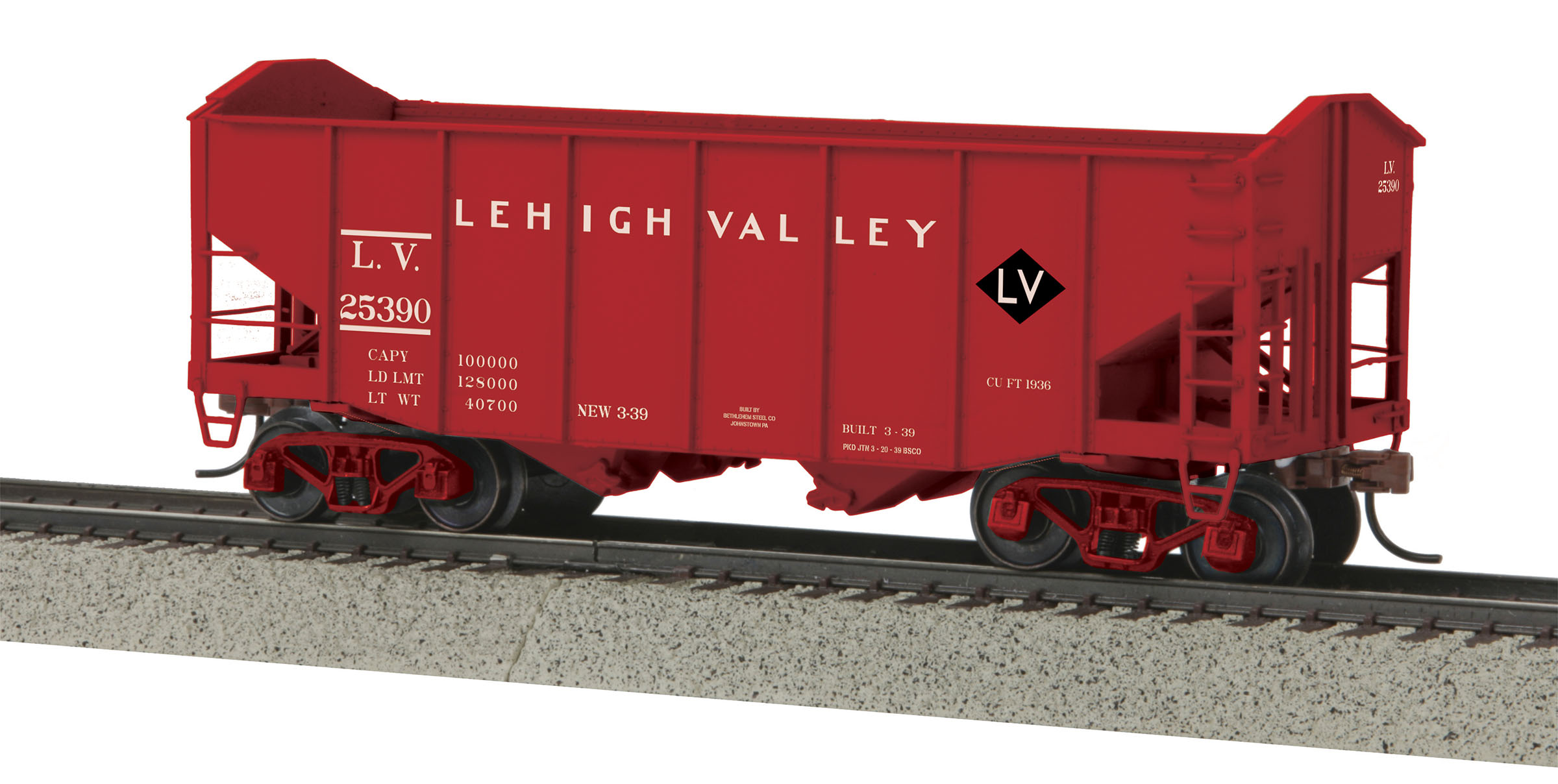 MTH 3575064 2Bay Fish Belly Hopper Car Hi-Rail Wheel LV #25390
