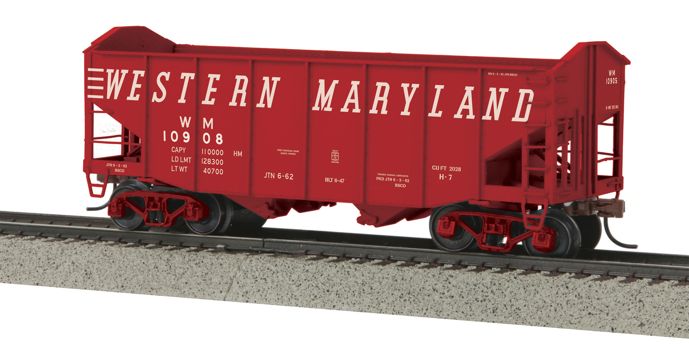 MTH 3575069 2Bay Fish Belly Hopper Car Hi-Rail Wheel WM #10908