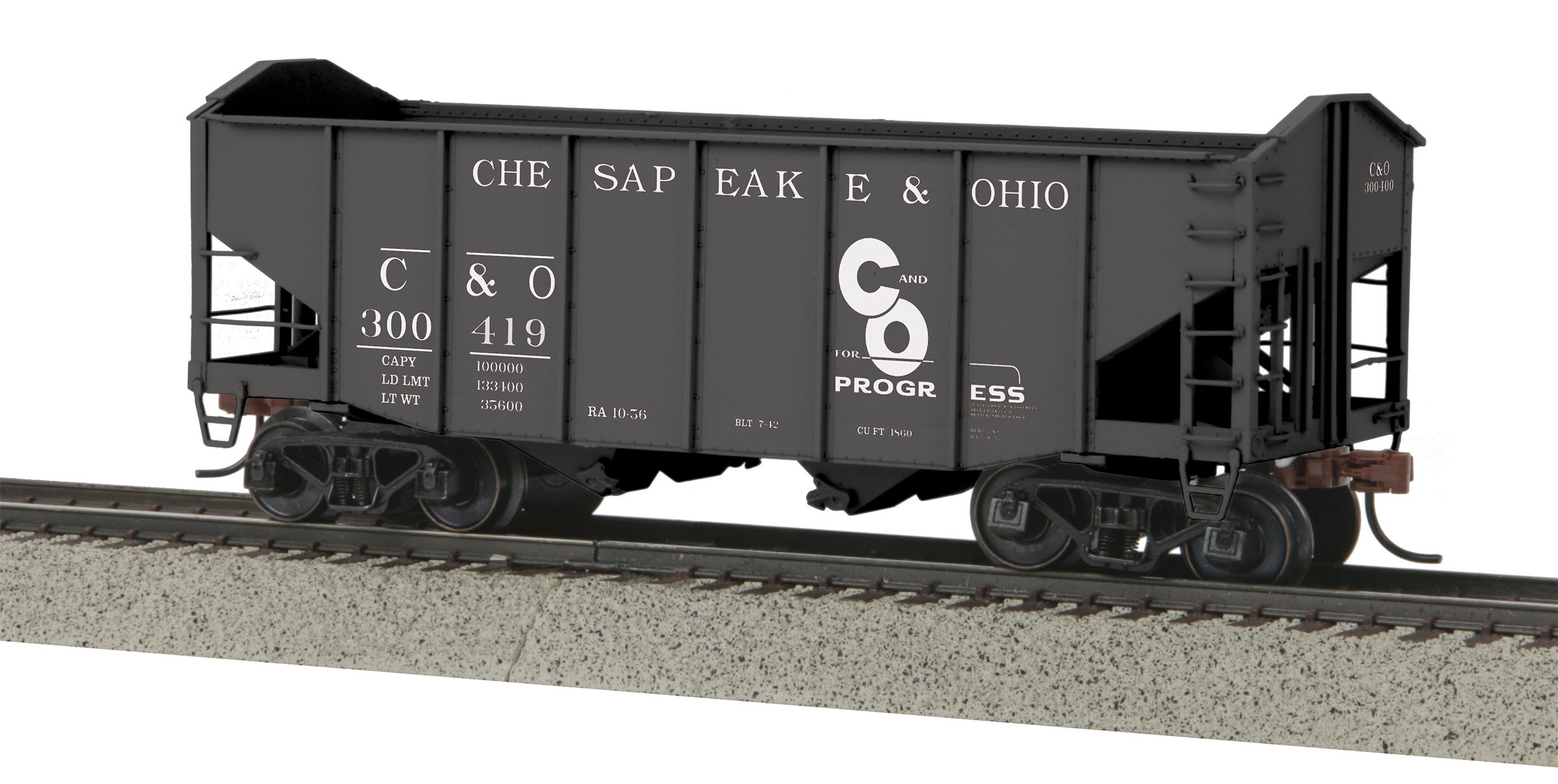 MTH 3575072 2Bay Fish Belly Hopper Car Scale Wheel C&O #300400