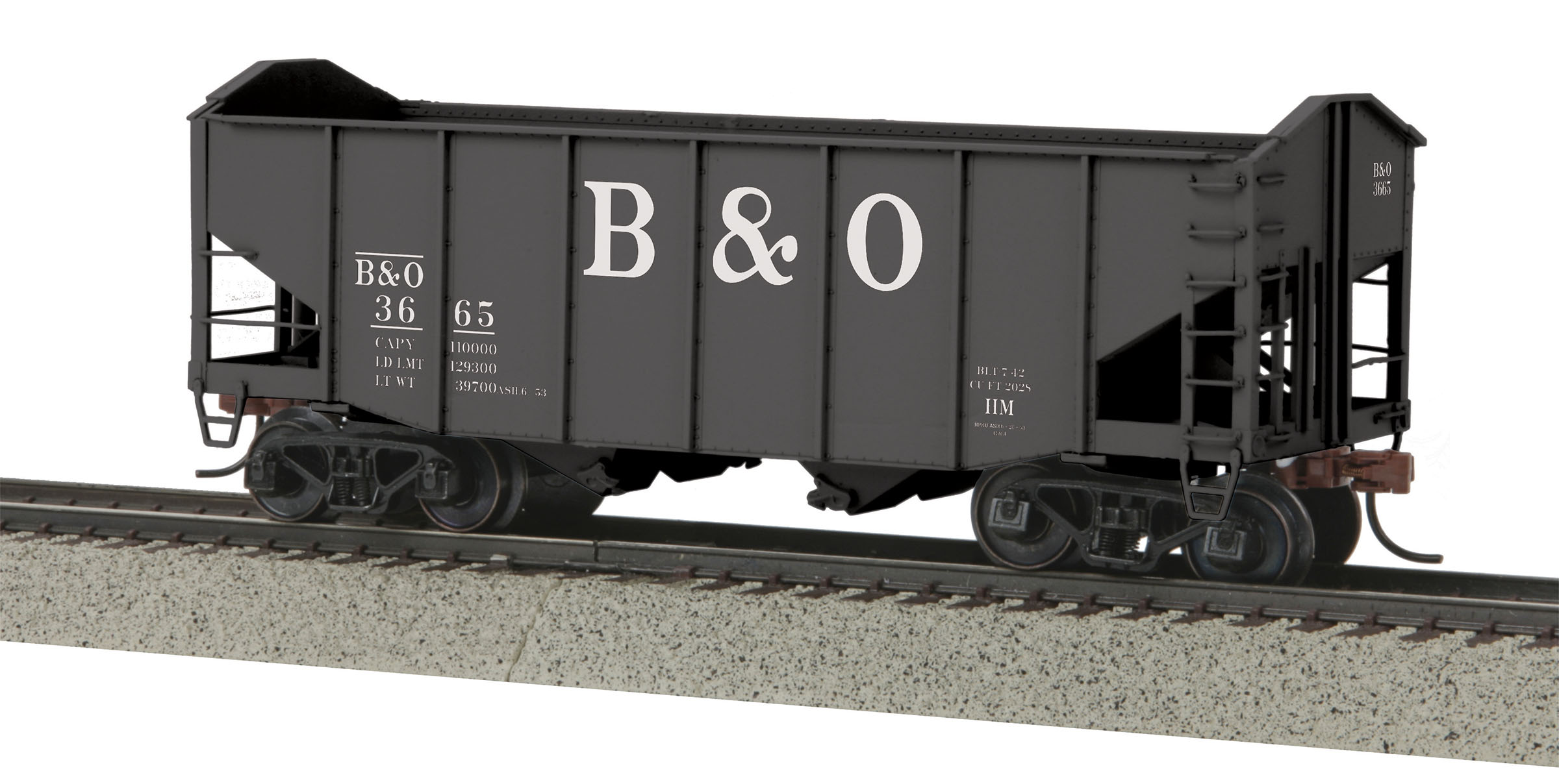 MTH 3575082 2-Bay Fish Belly Hopper Car Scale Wheels B&O #3665