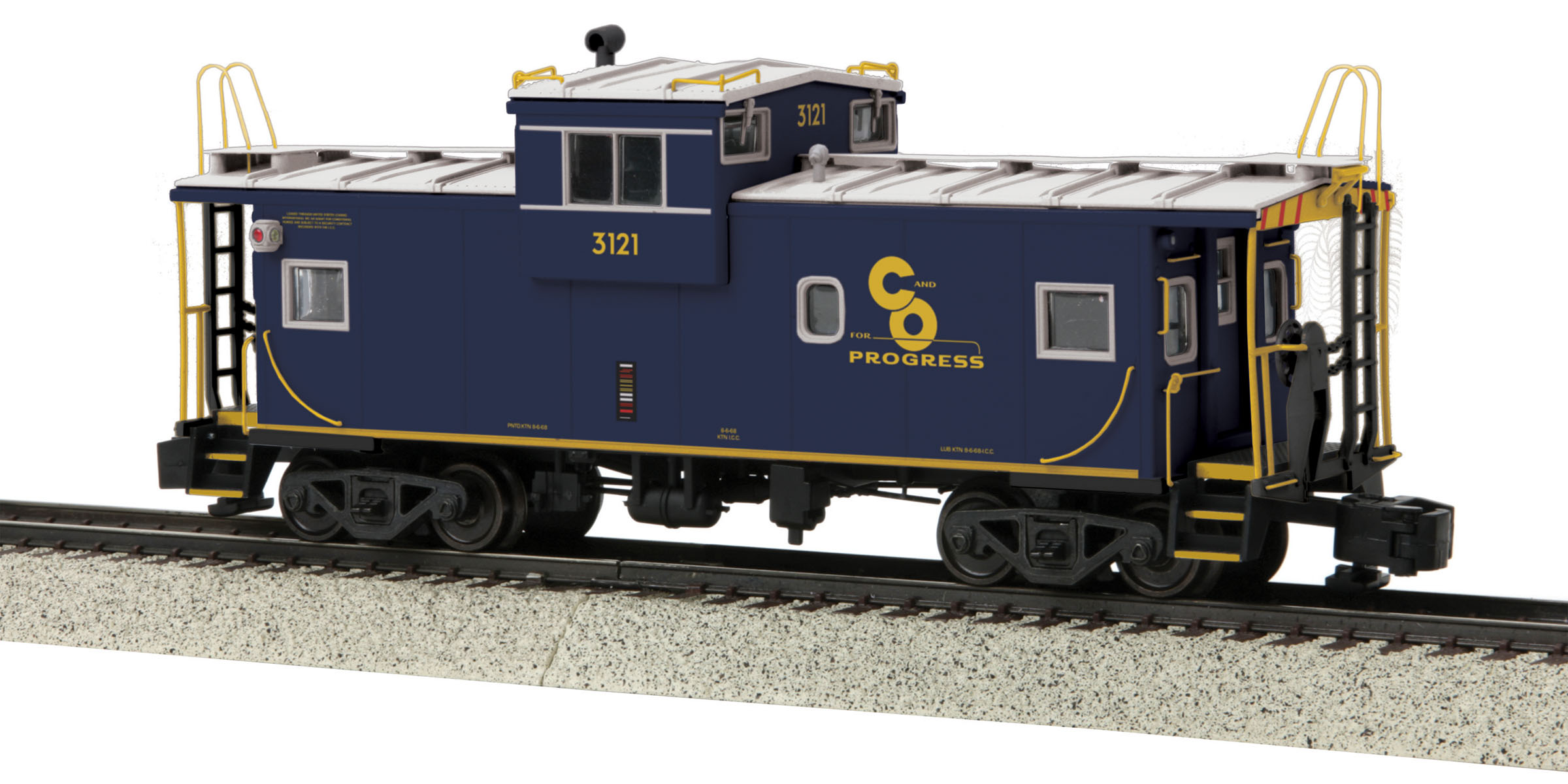 MTH 3577001 Extended Vision Caboose Hi-Rail Wheels C&O #3121