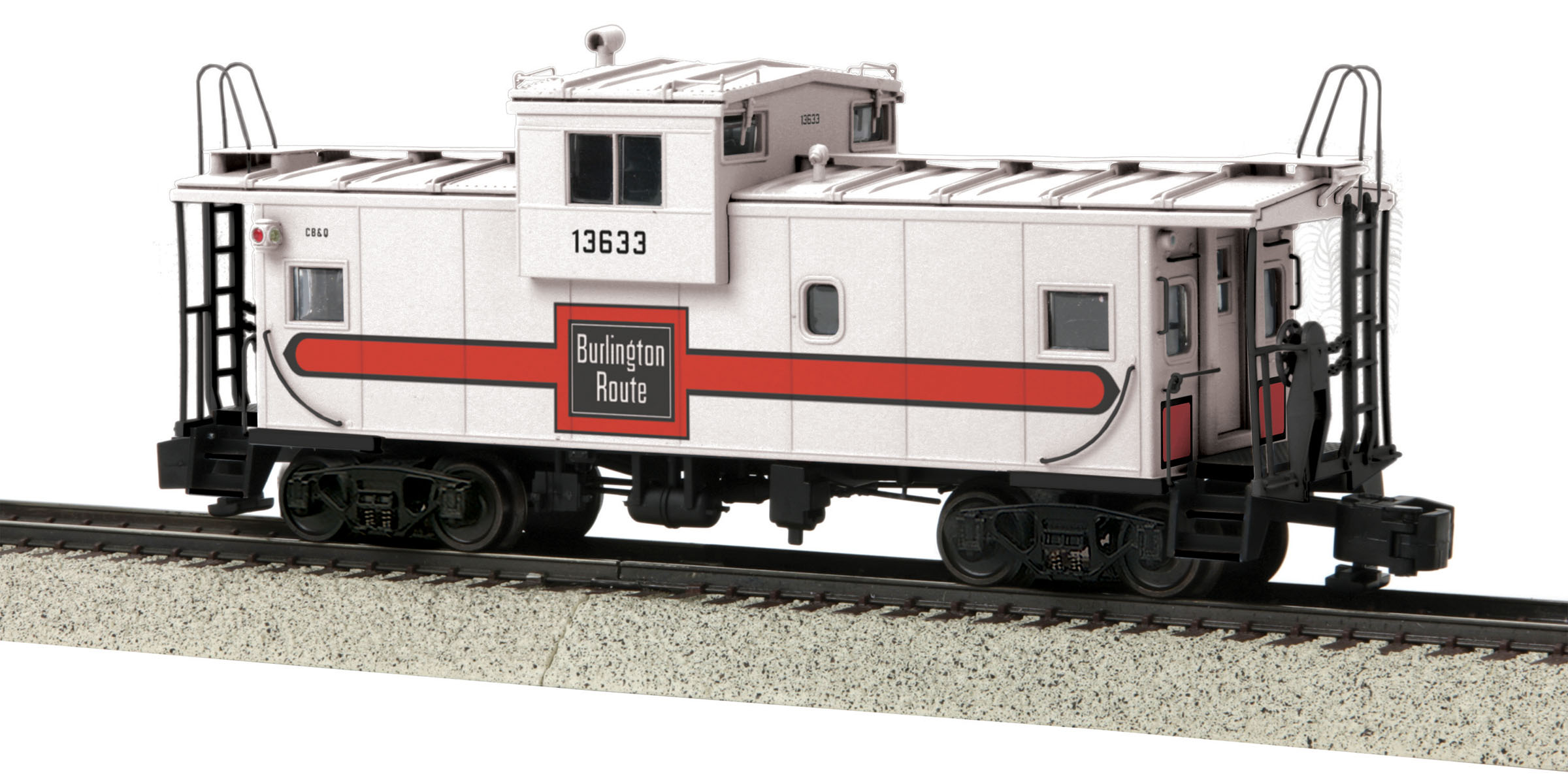 MTH 3577002 Burlington Extended Caboose Hi-Rail Wheels #13633
