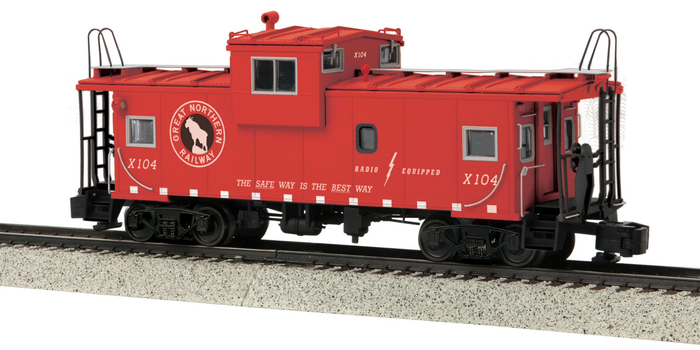 MTH 3577003 Extended Vision Caboose Hi-Rail Wheels GN #X104