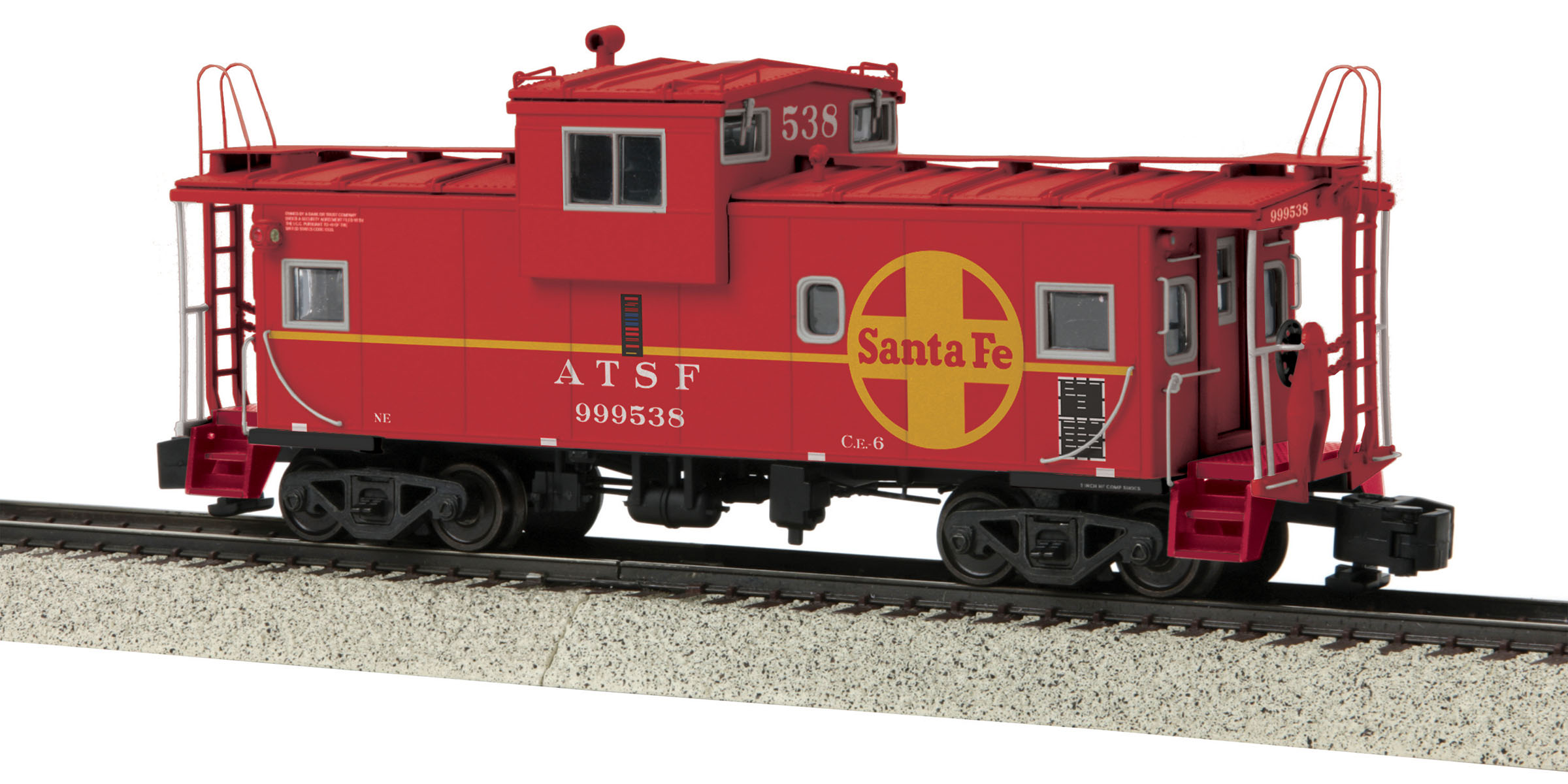 MTH 3577008 Extended Vision Caboose Hi-Rail Wheels SF #999538